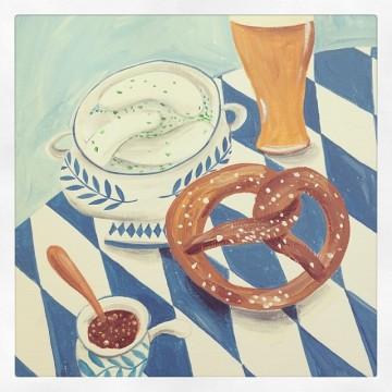 white sausages, pretzels, beer